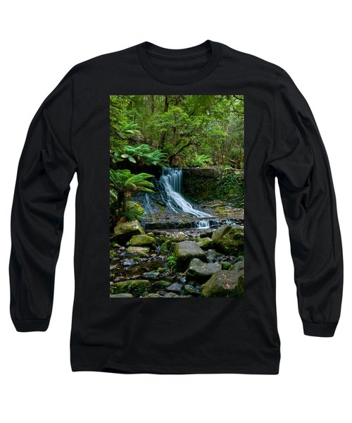 Waterfall In Deep Forest Long Sleeve T-Shirt by Ulrich Schade