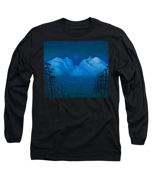 Winter Night In The Mountains Long Sleeve T-Shirt