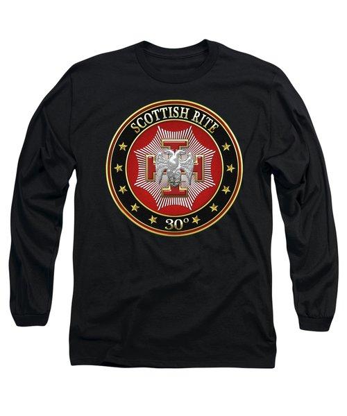 30th Degree - Knight Kadosh Jewel On Black Leather Long Sleeve T-Shirt