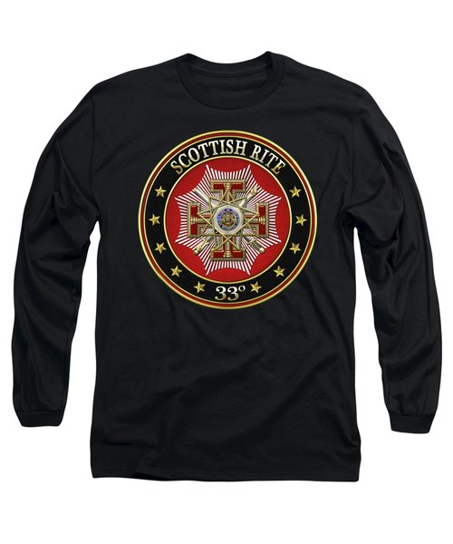 33rd Degree - Inspector General Jewel On Black Leather Long Sleeve T-Shirt by Serge Averbukh