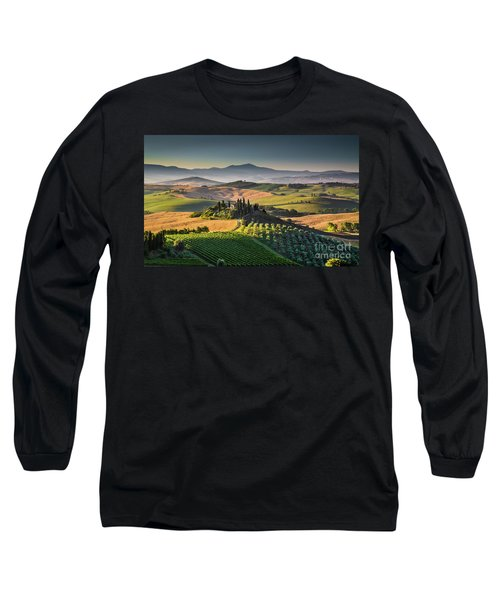 A Morning In Tuscany Long Sleeve T-Shirt by JR Photography