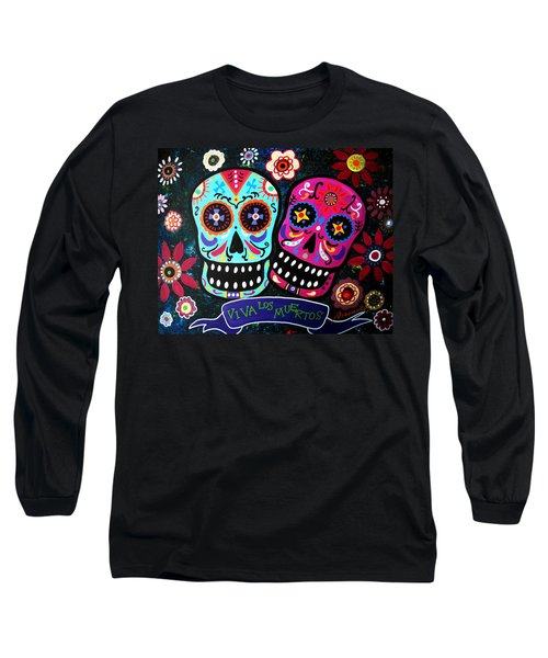 Couple Day Of The Dead Long Sleeve T-Shirt by Pristine Cartera Turkus