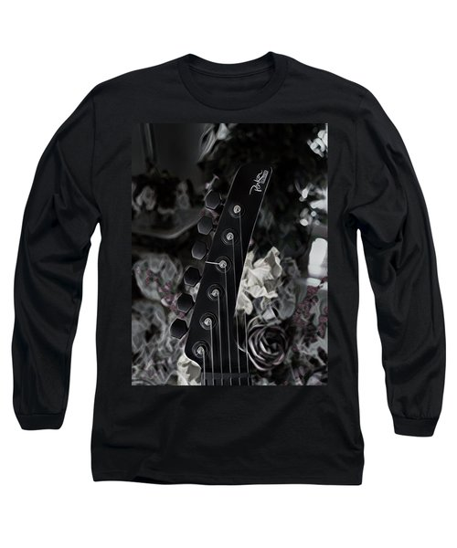 Long Sleeve T-Shirt featuring the digital art Parker Fly Guitar Headstock by Guitar Wacky