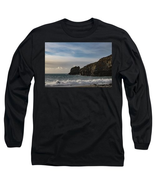 Long Sleeve T-Shirt featuring the photograph Trevellas Cove Cornwall by Brian Roscorla