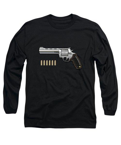 .44 Magnum Colt Anaconda With Ammo On Black Velvet  Long Sleeve T-Shirt