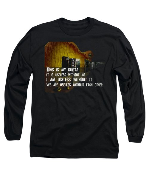 Long Sleeve T-Shirt featuring the photograph Colorful Music Rock N Roll Guitar Retro Distressed  by Guitar Wacky