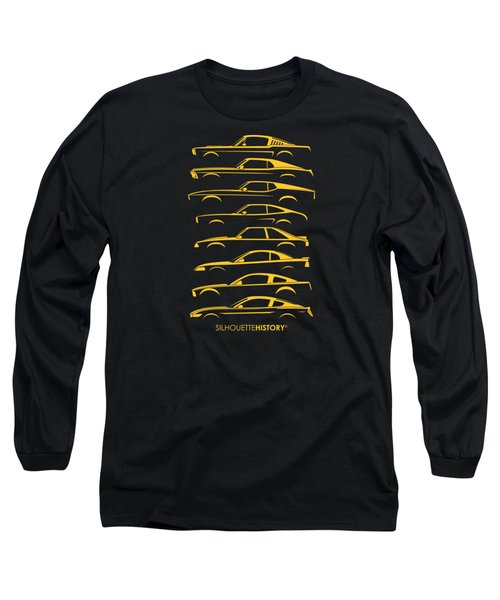 Ford Mustang Silhouettehistory Long Sleeve T-Shirt by Gabor Vida