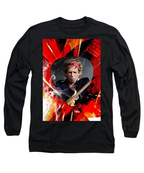 Keith Richards Art Long Sleeve T-Shirt by Marvin Blaine