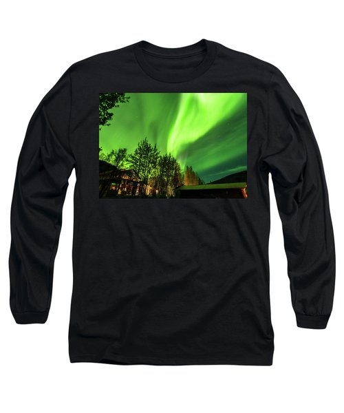 Northern Lights, Aurora Borealis At Kantishna Lodge In Denali National Park Long Sleeve T-Shirt