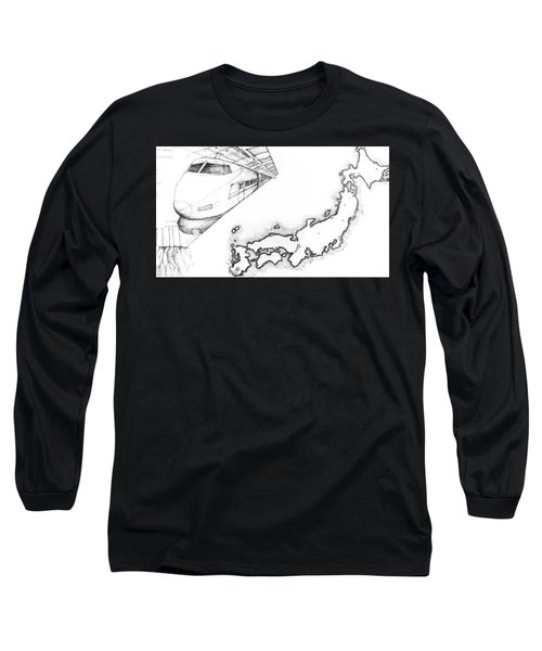 5.1.japan-map-of-country-with-bullet-train Long Sleeve T-Shirt