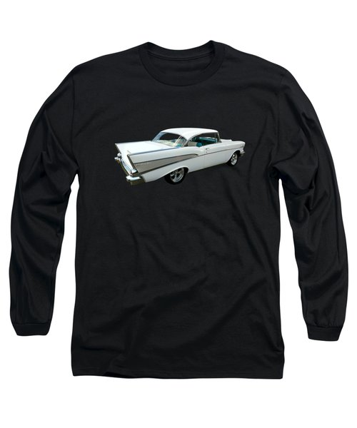 57 Chevy Bel-air Hardtop In Silver And White Long Sleeve T-Shirt