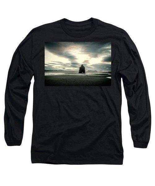 Dinosaur Rock Beach In Iceland Long Sleeve T-Shirt by Joe Belanger