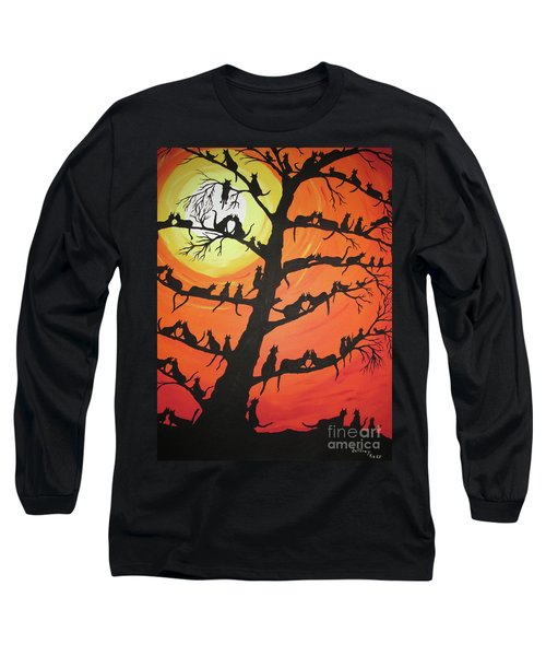 60 Cats In The Love Tree Long Sleeve T-Shirt by Jeffrey Koss