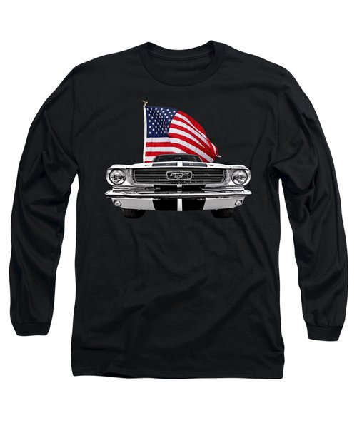 66 Mustang With U.s. Flag On Black Long Sleeve T-Shirt