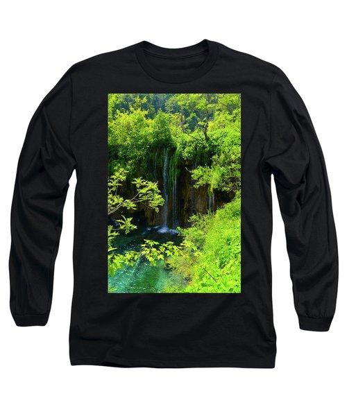 Waterfall In Plitvice National Park In Croatia Long Sleeve T-Shirt
