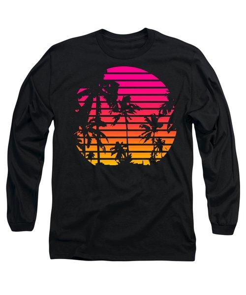80s Tropical Sunset Long Sleeve T-Shirt