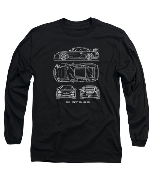 911 Gt3 Rs Blueprint Long Sleeve T-Shirt