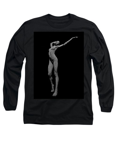 9705-dja Zebra Woman Flow Of Life Black White Striped Young Woman By Chris Maher Long Sleeve T-Shirt by Chris Maher