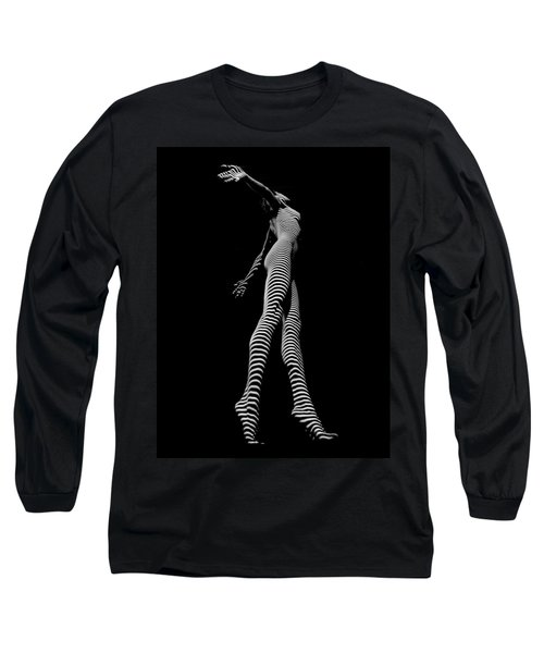 9825-dja Black And White Zebra Striped Woman Unique Perspective Fine Art Photograph By Chris Maher Long Sleeve T-Shirt