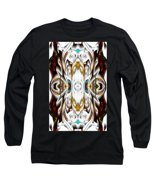 Long Sleeve T-Shirt featuring the digital art 992.042212mirror2ornateredagold-1a-1 by Kris Haas