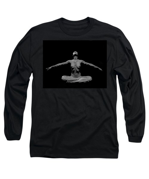 9928-dja Zebra Striped Woman Lotus Arms Out Abstract Black And White By Chris Maher Long Sleeve T-Shirt