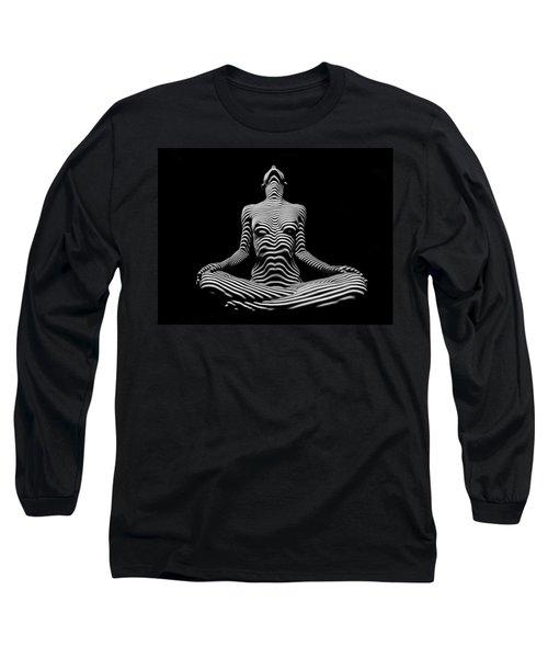 9934-dja Lotus Position In Zebra Stripes  Long Sleeve T-Shirt
