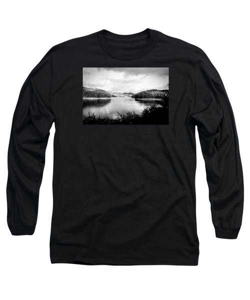 Long Sleeve T-Shirt featuring the photograph A Black And White Landscape On The Nantahala River by Kelly Hazel