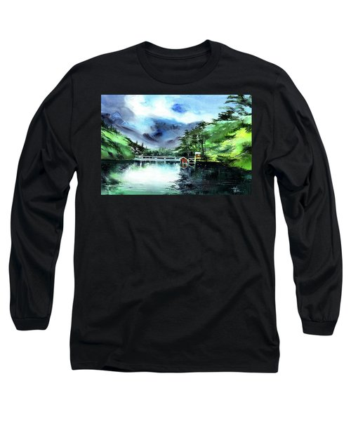 Long Sleeve T-Shirt featuring the painting A Bridge Not Too Far by Anil Nene