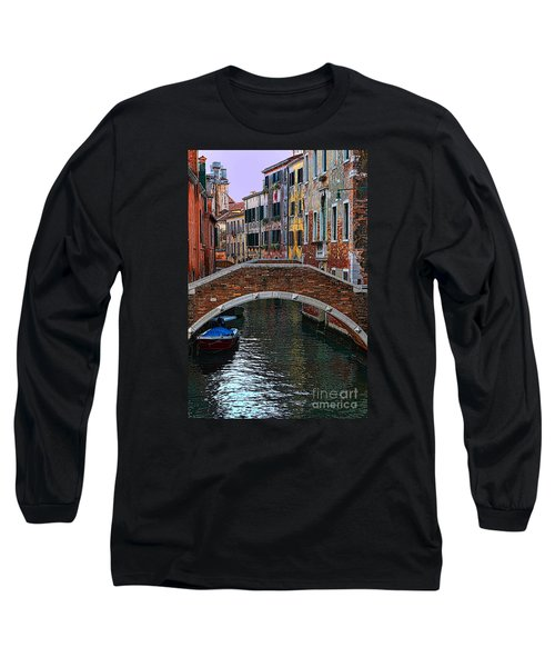 A Canal In Venice Long Sleeve T-Shirt by Tom Prendergast