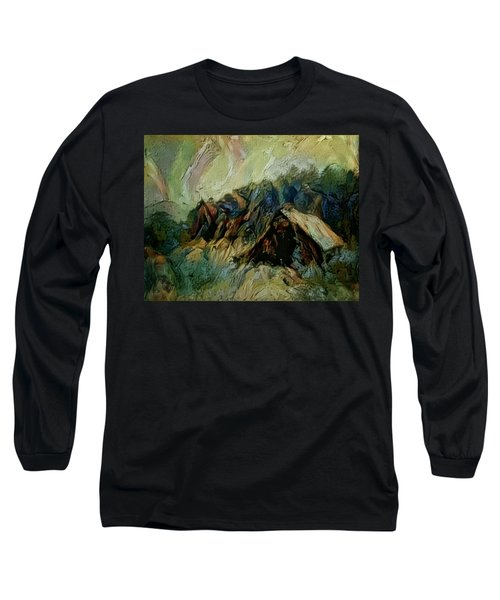 Long Sleeve T-Shirt featuring the painting A Chance In The World Movie Dark Barn Crowded Into A Gully Between A Large Rocky Hill And A Grove Of by Mendyz