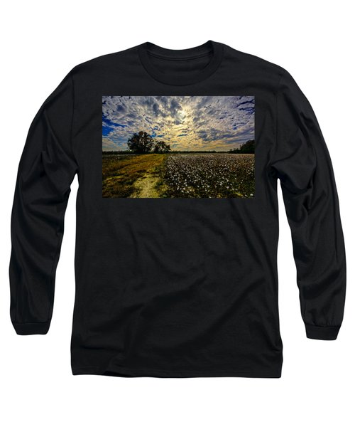 A Cotton Field In November Long Sleeve T-Shirt by John Harding
