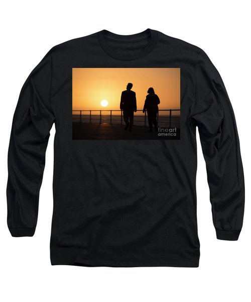 A Couple In Silhouette Walking Into The Sunset Long Sleeve T-Shirt