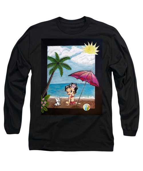 A Day At The Beach Long Sleeve T-Shirt by Teresa Wing