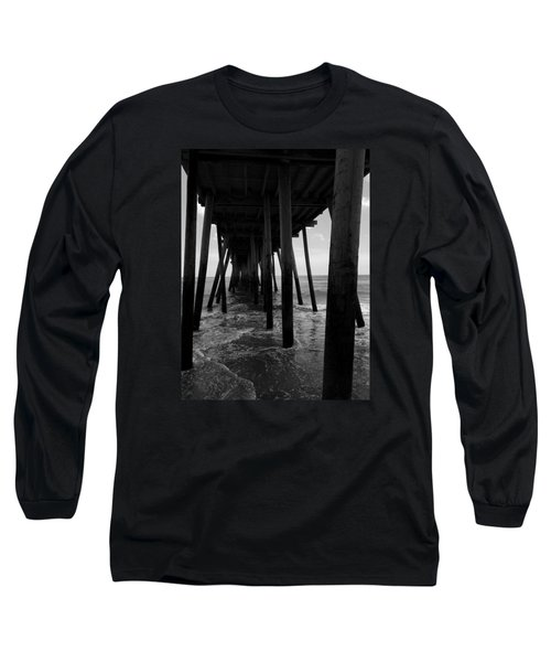 Long Sleeve T-Shirt featuring the pyrography A Day At Virginia Beach #2 by Rebecca Davis