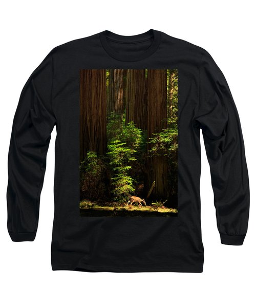 A Deer In The Redwoods Long Sleeve T-Shirt