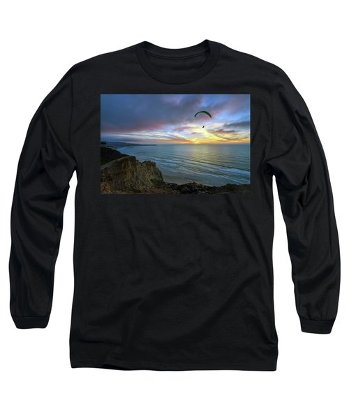 A Hang Glider And A Sunset Long Sleeve T-Shirt