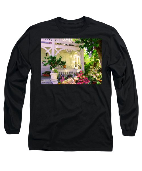Long Sleeve T-Shirt featuring the painting A Key West Porch by David  Van Hulst