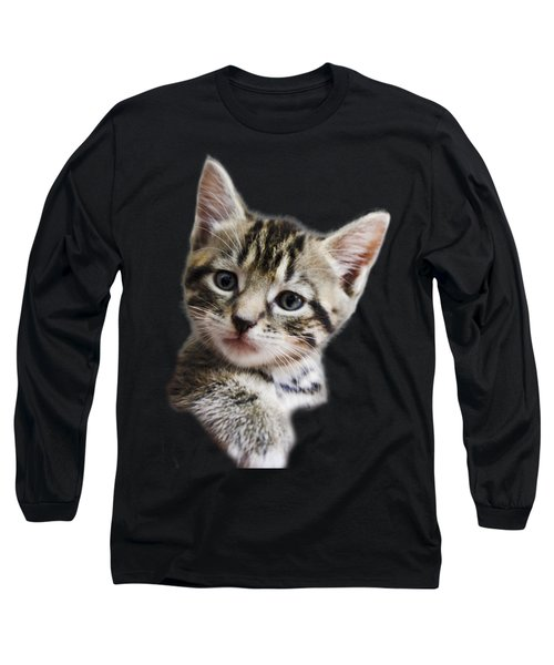 A Kittens Helping Hand On A Transparent Background Long Sleeve T-Shirt by Terri Waters