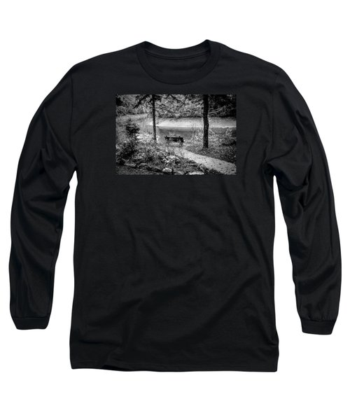 Long Sleeve T-Shirt featuring the photograph A Lone Bench By The Nantahala River by Kelly Hazel