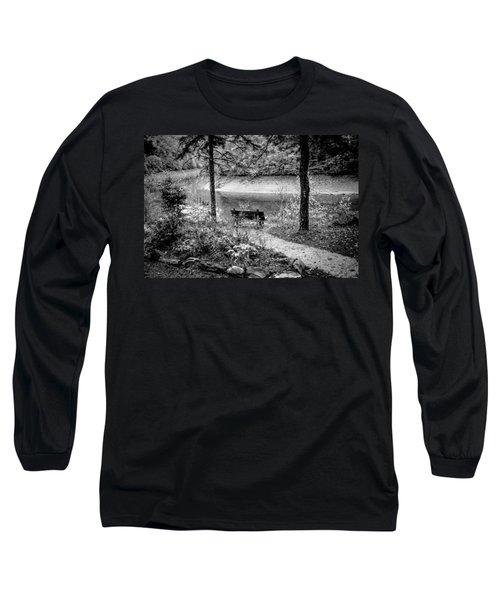 A Lone Bench By The Nantahala River Long Sleeve T-Shirt