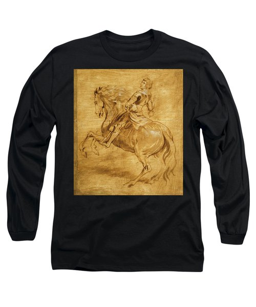 Long Sleeve T-Shirt featuring the painting A Man Riding A Horse by Anthony van Dyck