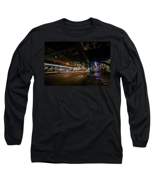 a nighttime look at Chicago's busy State and Lake Intersection Long Sleeve T-Shirt
