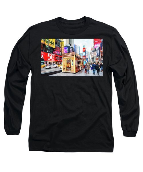 A Portable Food Stand In New York Times Square Long Sleeve T-Shirt