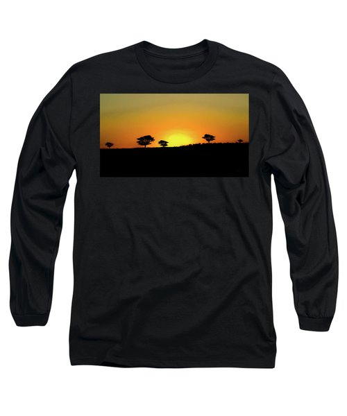 A Sunset In Namibia Long Sleeve T-Shirt by Ernie Echols