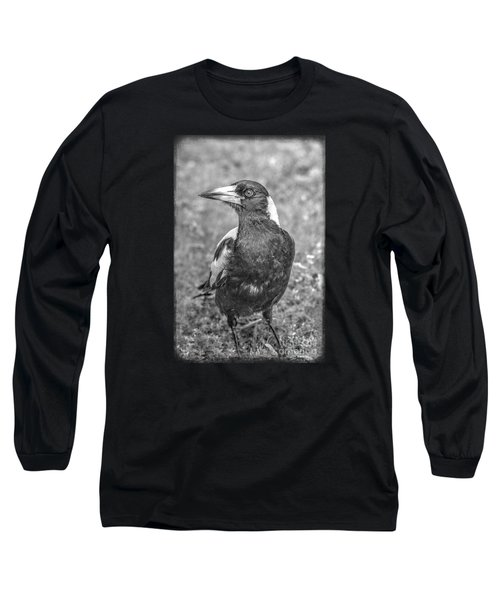 Long Sleeve T-Shirt featuring the photograph A Very Game Magpie by Elaine Teague