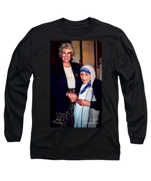 Long Sleeve T-Shirt featuring the digital art A Vist With Mother Teresa by Kathy Tarochione