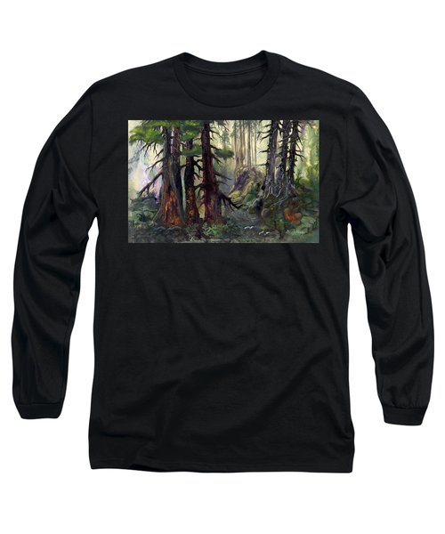 Long Sleeve T-Shirt featuring the painting A Walk In The Woods by Sherry Shipley