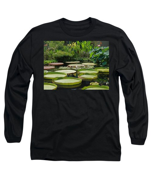 Long Sleeve T-Shirt featuring the photograph A Water Garden by Byron Varvarigos