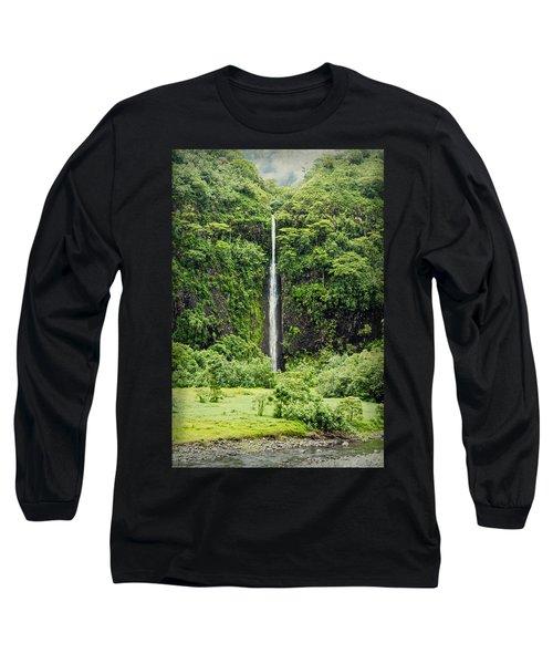 A Waterfall In Tahiti Long Sleeve T-Shirt