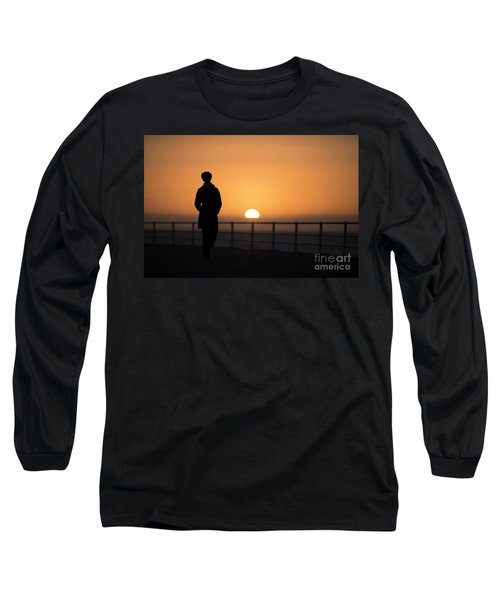 A Woman Silhouetted At Sunset Long Sleeve T-Shirt